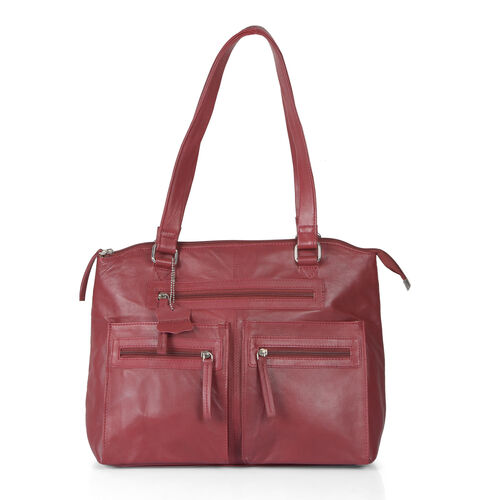 ( Last Chance To Buy )Top Grain Genuine Leather RFID Blocker Maroon Red Colour Multi Pockets Big City Tote (Size 37X27X10 Cm)