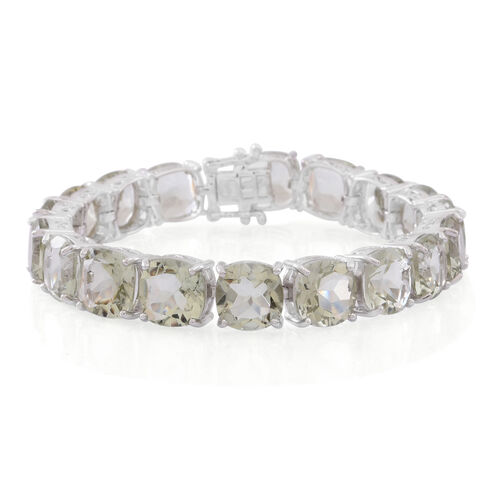 Green Amethyst (Cush) Bracelet (Size 7) in Rhodium Plated Sterling Silver 62.000 Ct.