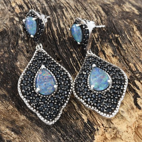 Australian Boulder Opal (Pear), Boi Ploi Black Spinel Dangling Earrings (with Push Back) in Black Rhodium and Platinum Overlay Sterling Silver 5.000 Ct. Silver wt 8.00 Gms. Number of Gemstone 124