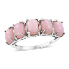 Peruvian Pink Opal (Cush) 5 Stone Ring in Platinum Overlay Sterling Silver 4.000 Ct.