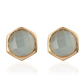 Aqua Chalcedony 3.50 Ct Silver Solitaire Stud Earrings in Gold Overlay (with Push Back)
