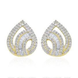 9K Yellow Gold 1 Carat Diamond Stud Earrings SGL Certified I3 G-H