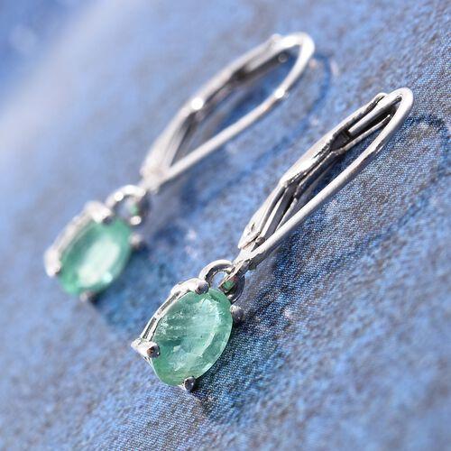 Kagem Zambian Emerald (Ovl) Lever Back Earrings in Platinum Overlay Sterling Silver 1.000 Ct.