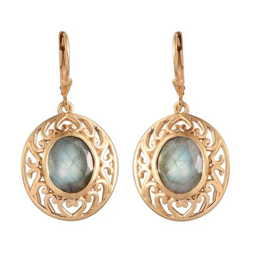 Labradorite (Ovl) Lever Back Earrings in 14K Gold Overlay Sterling Silver 6.500 Ct.
