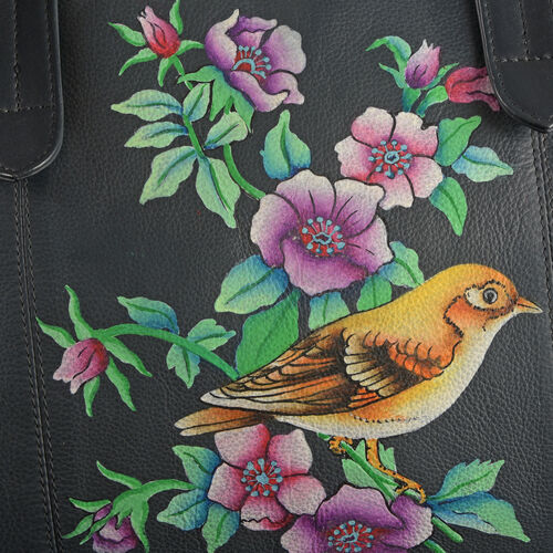 Top Grain Genuine Leather Hand Painted Floral and Bird Large Tote (Size 39X30X8 Cm)