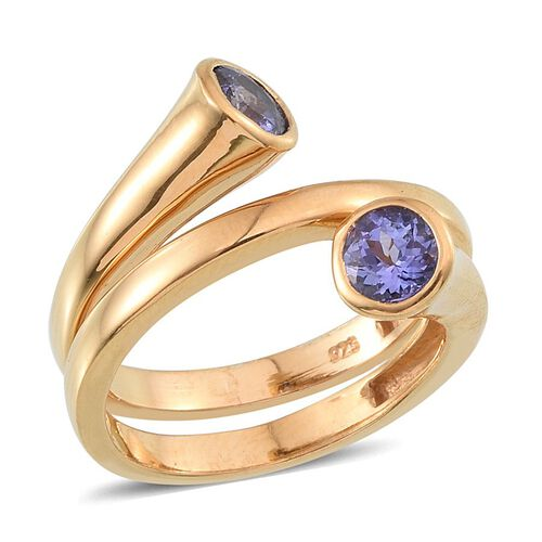 Tanzanite (Rnd) Spiral Ring in 14K Gold Overlay Sterling Silver 1.000 Ct.