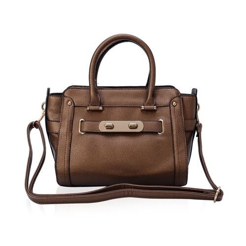 Brown Colour Tote Bag with External Zipper Pocket and Adjustable and Removable Shoulder Strap (Size 32x22x9 Cm)