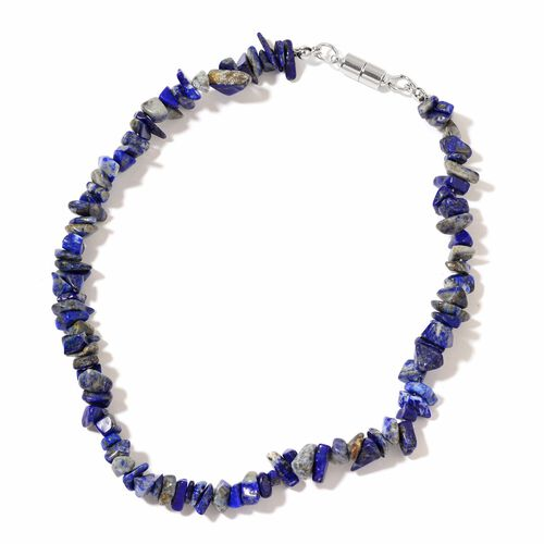 Lapis Lazuli Beads Multi Functional Necklace (Size 18) with Magnetic Clasp Lock in Silver Tone 800.000 Ct.