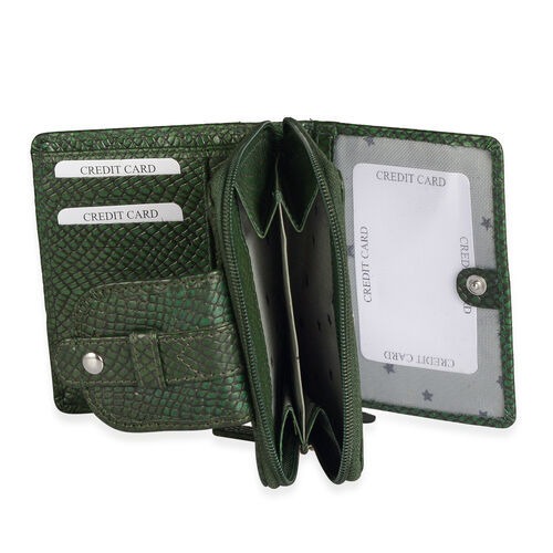 Genuine Leather Dark Green Colour Snake Embossed RFID Blocker Ladies Wallet (Size 12x10x3.5 Cm)