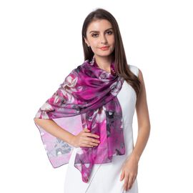 100%  Mulberry Silk Dark Pink and Multi Colour Floral Pattern Scarf (Size 175x53 Cm)