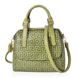 Olive Green Greek key Pattern Tote Bag with External Zipper Pocket and Adjustable Shoulder Strap (Size 28x26x10.5)
