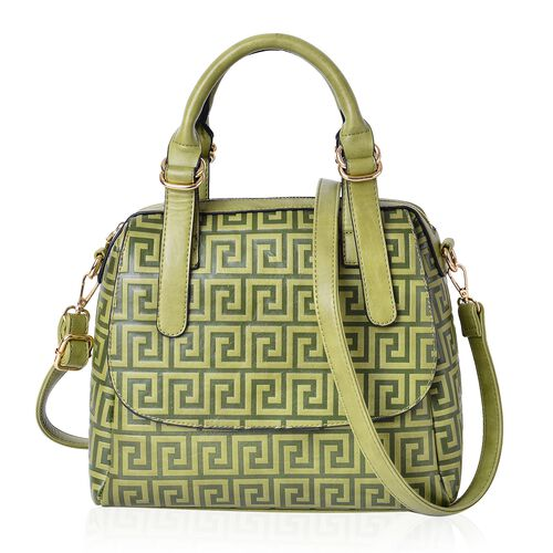 Pistachio Green Greek key Pattern Tote Bag with External Zipper Pocket and Adjustable Shoulder Strap (Size 28x26x10.5 Cm)