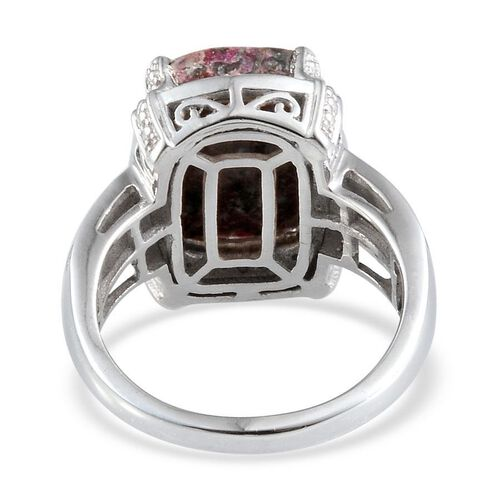 Natural Russian Eudialyte (Cush 5.75 Ct), Diamond Ring in Platinum Overlay Sterling Silver 5.770 Ct.