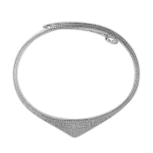 Vicenza Collection Rhodium Plated Sterling Silver Cleopatra Necklace (Size 18), Silver wt 24.16 Gms.