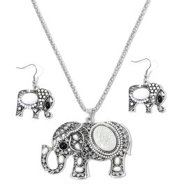 Simulated White Howlite and White Austrian Crystal Elephant Pendant With Chain (Size 28) and Hook Earrings in Silver Tone
