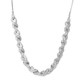 Diamond (Rnd) Necklace (Size 18) in Platinum Overlay Sterling Silver 2.000 Ct., Silver wt. 13.00 Gms.