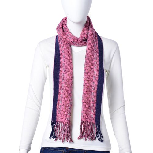 Close Out Deal-90% Wool Pink and Navy Colour Checker Pattern Scarf with Tassels (Size 190X30 Cm)