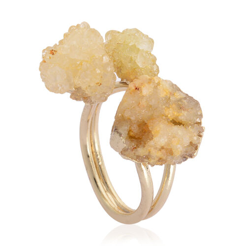 Drusy Agate Ring in Gold Tone 13.000 Ct.