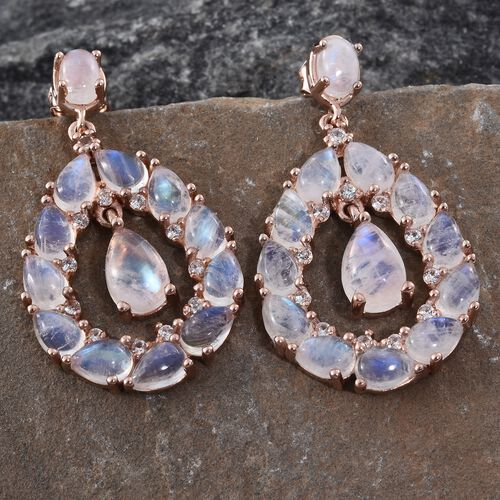 Sri Lankan Rainbow Moonstone (Pear), Natural Cambodian Zircon Drop Earrings (with Push Back) in Rose Gold Overlay Sterling Silver 16.250 Ct. Silver wt 7.13 Gms.