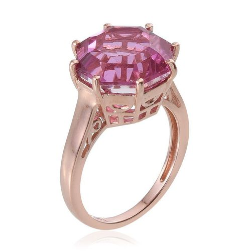 Kunzite Colour Quartz (Octillion Cut) Solitaire Ring in Rose Gold Overlay Sterling Silver 7.500 Ct.