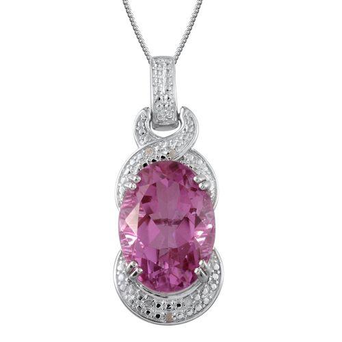 Kunzite Colour Quartz (Ovl 15.75 Ct), Diamond Pendant With Chain in Platinum Overlay Sterling Silver 15.780 Ct.