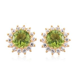 Limited Edition- AAA Hebei Peridot (Rnd 8 mm), Natural White Cambodian Zircon Stud Earrings (with Push Back) in Yellow Gold Vermeil Sterling Silver 5.750 Ct
