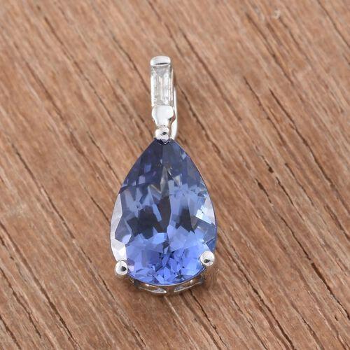 14K W Gold AAA Tanzanite (Pear), Diamond (I3/G-H) Pendant 1.400 Ct.