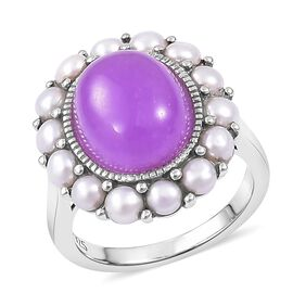 Purple Jade (Ovl 6.25 Ct), Fresh Water Pearl Daisy Flower Ring in Rhodium Plated Sterling Silver 8.150 Ct.