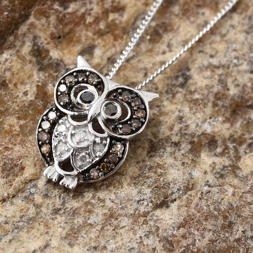 Designer Inspired - Natural Champagne Diamond (Rnd), Black Diamond and White Diamond Owl Pendant With Chain in Platinum Overlay Sterling Silver 0.250 Ct.