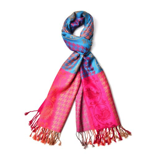 Rose Red, Blue and Multi Colour Houndstooth and Paisley Pattern Scarf with Tassels (Size 185X70 Cm)