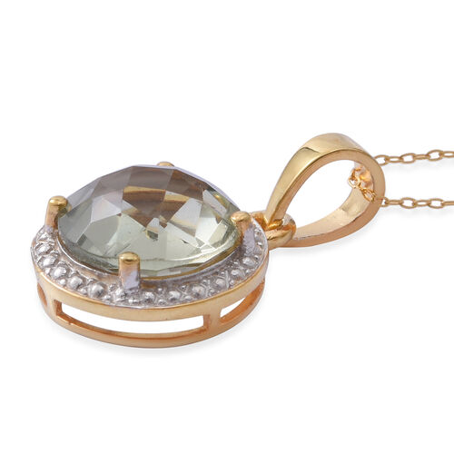 CHECKERBOARD CUT - Green Amethyst (Rnd) Solitaire Pendant with Chain in 14K Gold Overlay Sterling Silver 3.150 Ct.