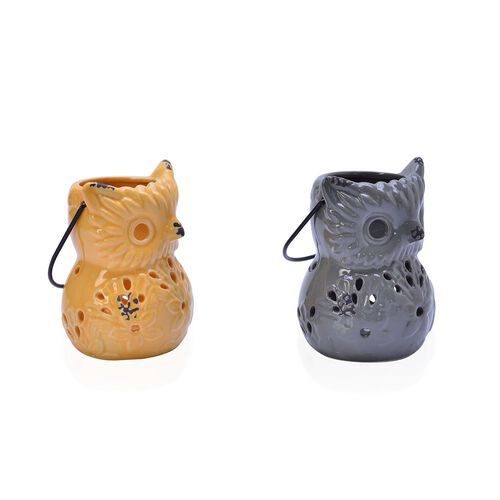 Home Decor - Set of 2 - Grey and Yellow Colour Cut Out Leaf Pattern Owl Ceramic Lantern