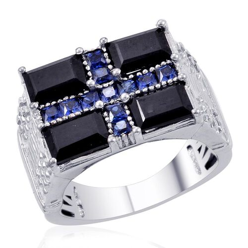 Designer Collection Boi Ploi Black Spinel (Bgt), Simulated Blue Sapphire Ring in Platinum Bond 4.900 Ct.