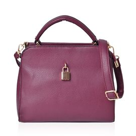 Burgundy Colour Crossbody Bag with Lock Design Closure and Adjustable and Removable Shoulder Strap (Size 25.5X22X12.5 Cm)