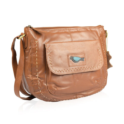Genuine Leather RFID Blocker Camel Colour Sling Bag with Adjustable Shoulder Strap (Size 32X26X10 Cm)