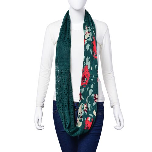 Limited Edition-Green and Multi Colour Floral Pattern and Lacy Work Infinity Scarf (Size 85x35 Cm)