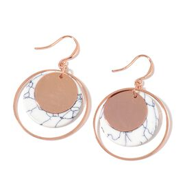 White Howlite Hook Earrings in Rose Gold Tone 10.000 Ct.