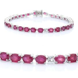 African Ruby (Ovl), White Topaz Bracelet in Sterling Silver (Size 8) 18.000 Ct.