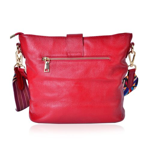(Last Chance To Buy ) Genuine Leather Red Colour Shoulder Bag (Size 29x26x23x13 Cm) with External Zipper Pocket and Multi Colour Removable Shoulder Strap