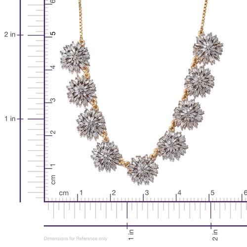 Designer Inspired - Firecracker Diamond (Rnd) Adjustable Necklace (Size 18) in 14K Gold Overlay Sterling Silver 2.000 Ct. Number of Diamonds 333 Silver wt 9.50 Gms.