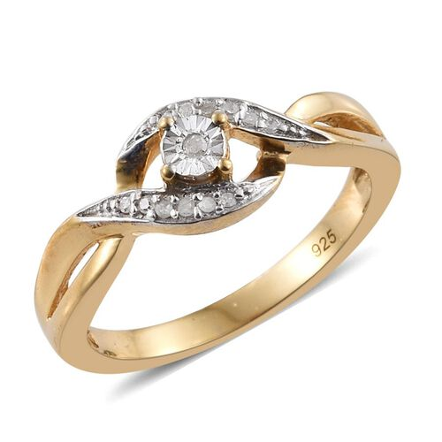 Diamond (Rnd) Bypass Promise Ring in 14K Gold Overlay Sterling Silver 0.050 Ct.