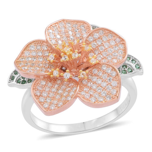 ELANZA AAA Simulated White Diamond (Rnd) Floral Ring in Rose Gold and Rhodium Plated Sterling Silver