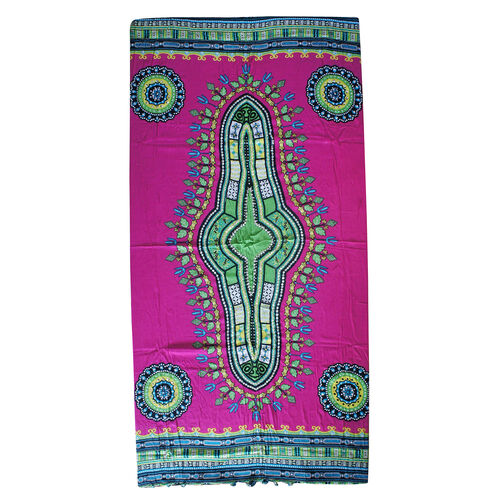 Bali Collection - Pink and Multi Colour Mandala Ethnic Motif Sarong with Sequin (Size 160x110 Cm)