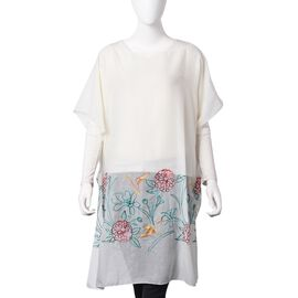 Cream, Red, Yellow and Green Embroidered Flower and Bird Pattern Poncho (Size 90x90 Cm)