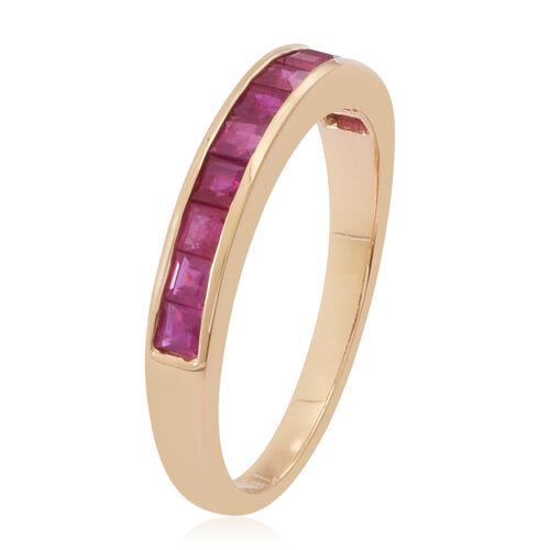ILIANA 18K Y Gold AAA Burmese Ruby (Sqr) Half Eternity Band Ring 1.250 Ct.