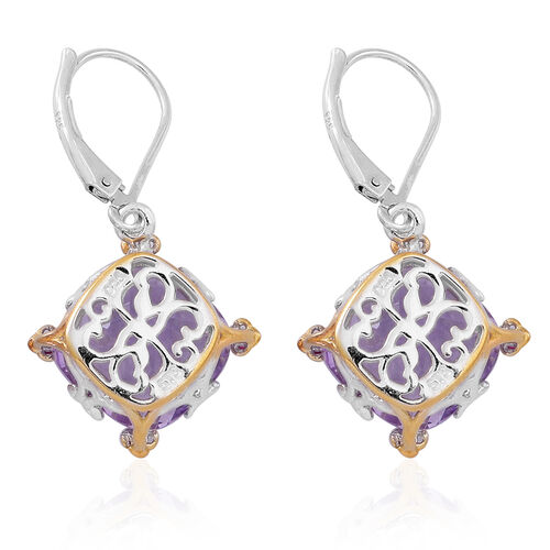 Designer Inspired-Checkerboard Cut AAA Rose De France Amethyst (Cush), AAA Burmese Ruby Lever Back Earrings in Rhodium Plated and Yellow Gold Overlay Sterling Silver 13.000 Ct.