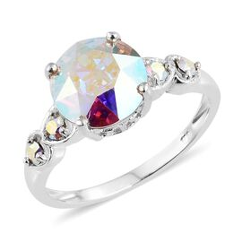 J Francis Crystal from Swarovski - AB Colour Crystal (Rnd) 5 Stone Ring in Sterling Silver