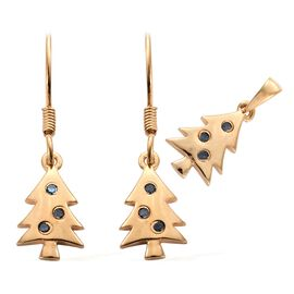 Blue Diamond (Rnd) Christmas Tree Pendant and Hook Earrings in 14K Gold Overlay Sterling Silver 0.150 Ct.