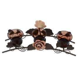 (Option 1) Home Decor - Two Clay Flower Candle Holder with Brown Glass