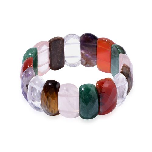 White Quartz, Green Aventurine, Argentinian Rhodochrosite, Amethyst, Carnelian, Rose Quartz and Tigers Eye Stretchable Bracelet (Size 7.5) 377.700 Ct.